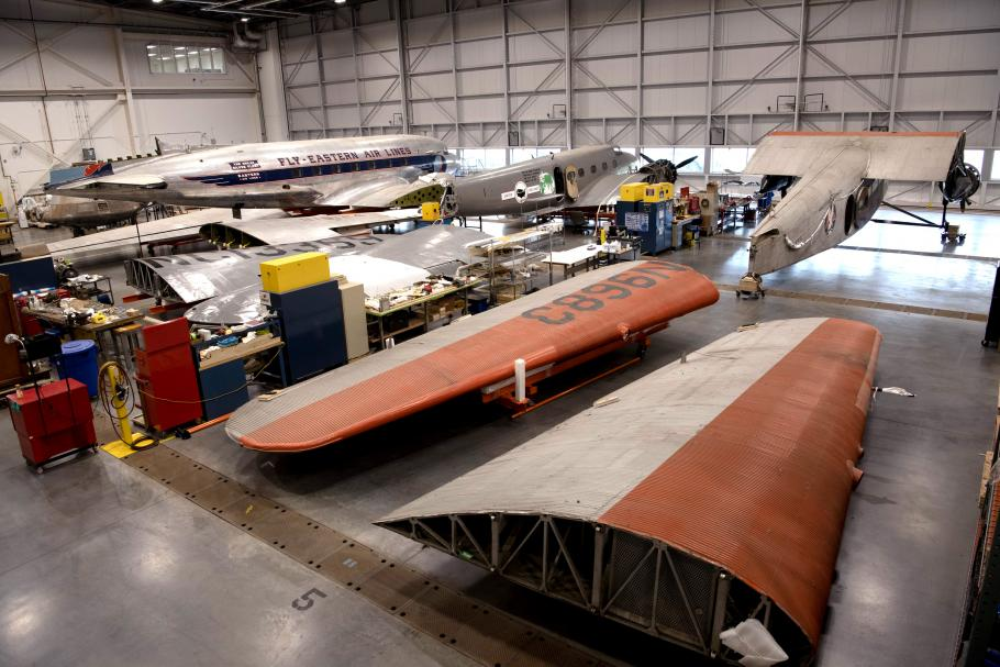 Aircraft in restoration hangar