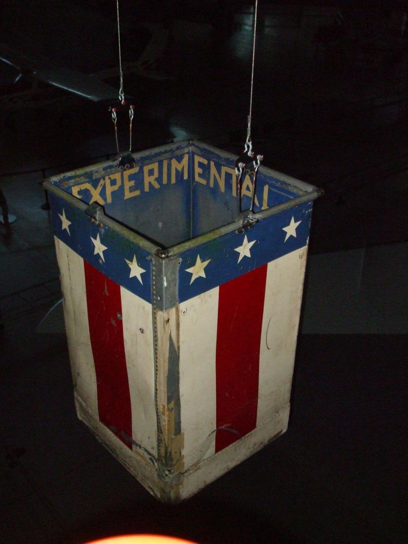 Red, white and blue metal balloon basket flown at a centennial commemoration of John Wise's Jupiter balloon flight