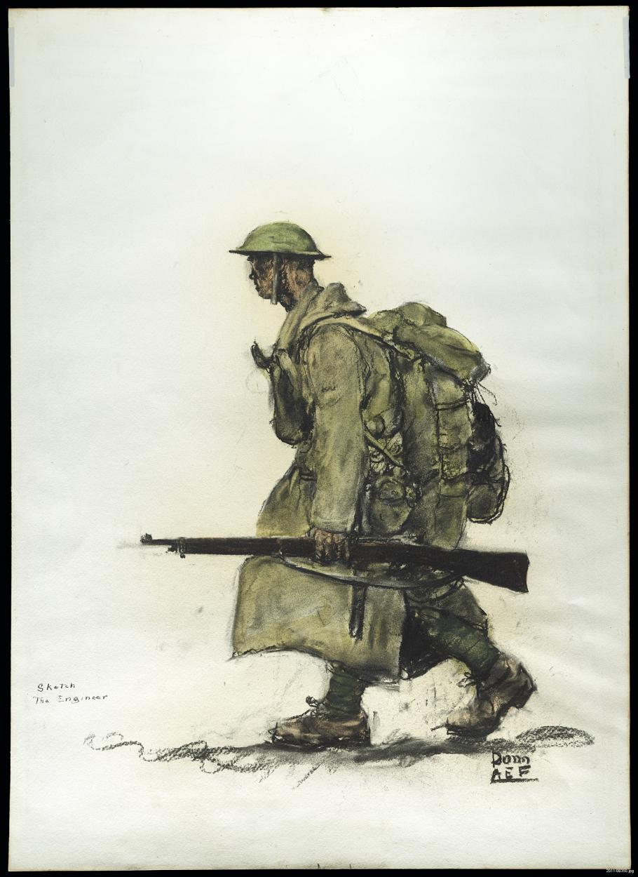 Soldier in profile walking with rifle in hand.