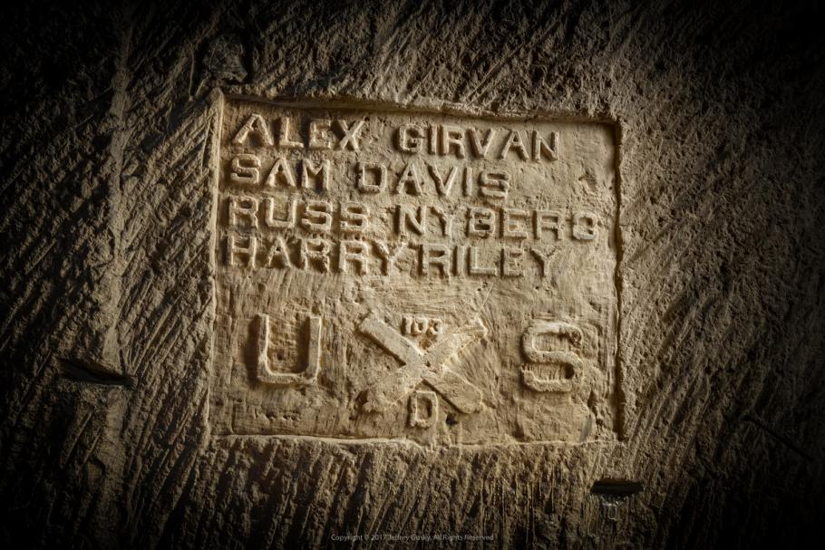 Close up engraving in stone.