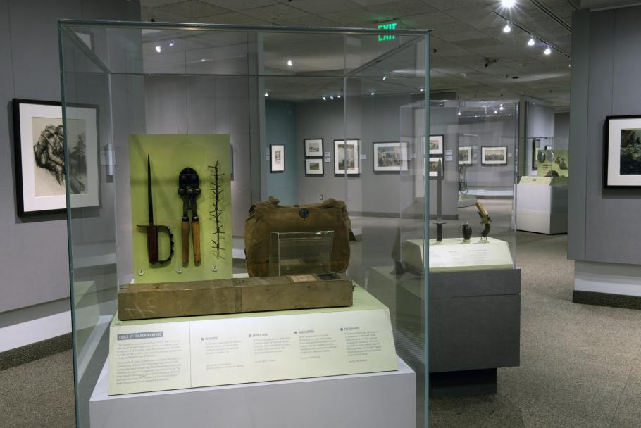 An artifact case with objects inside.