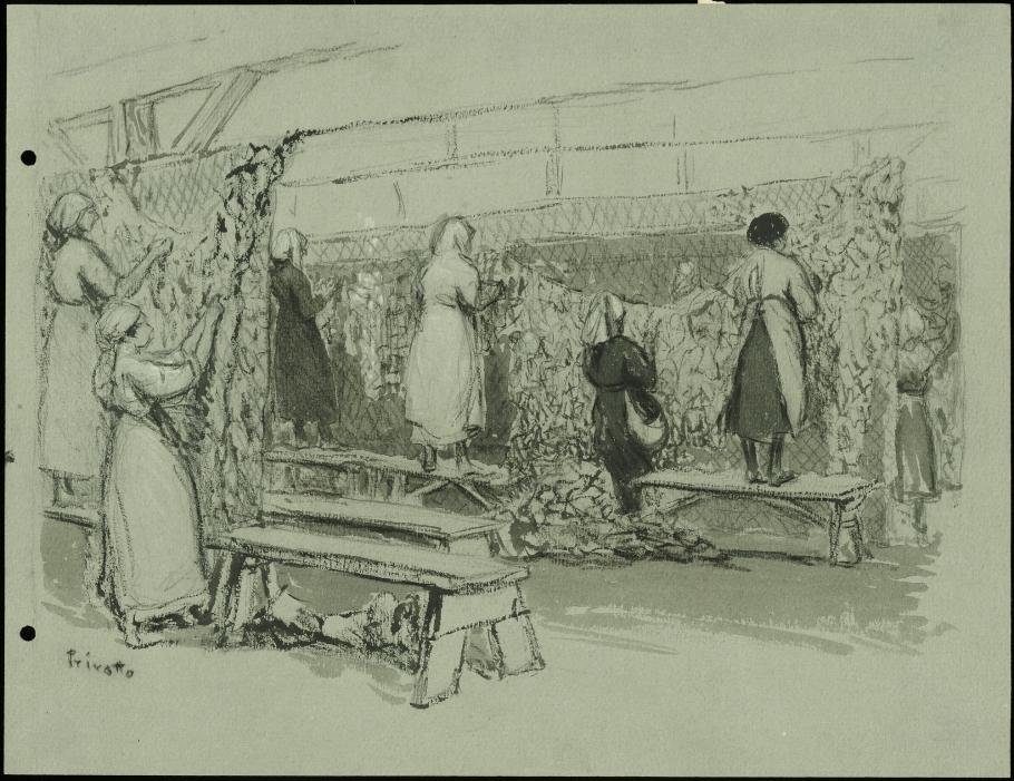 Black and white drawing of women working.