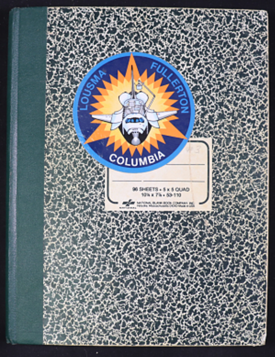 Marbled notebook with Columbia sticker
