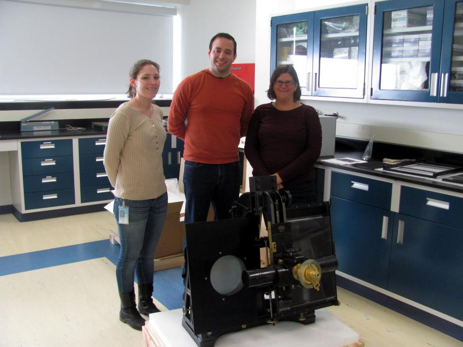 Conservators with the Blink Comparator