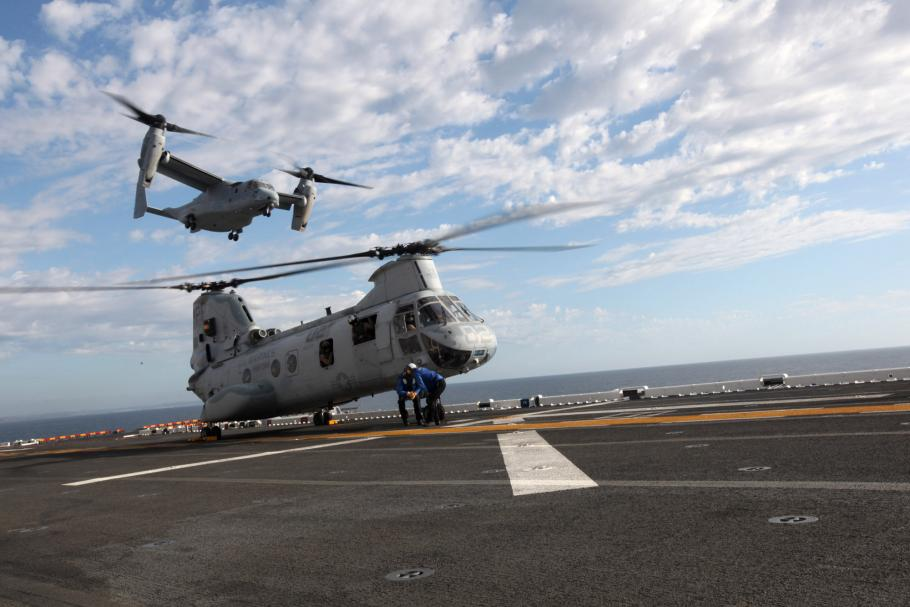 MV-22 and CH-46 Prepare for Fleet Week