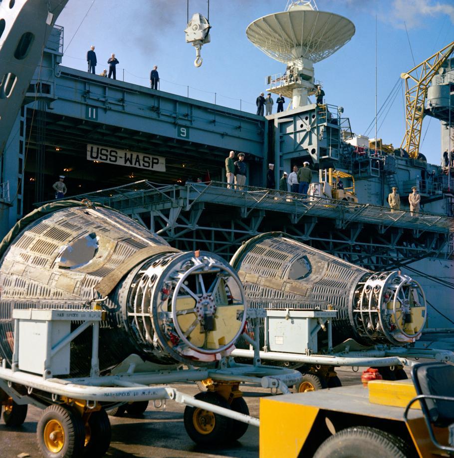 Gemini VI and Gemini VII on the USS Wasp