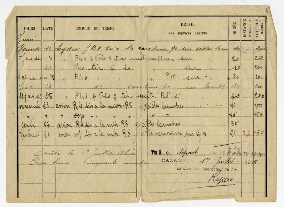 Page of WWI Flight Log