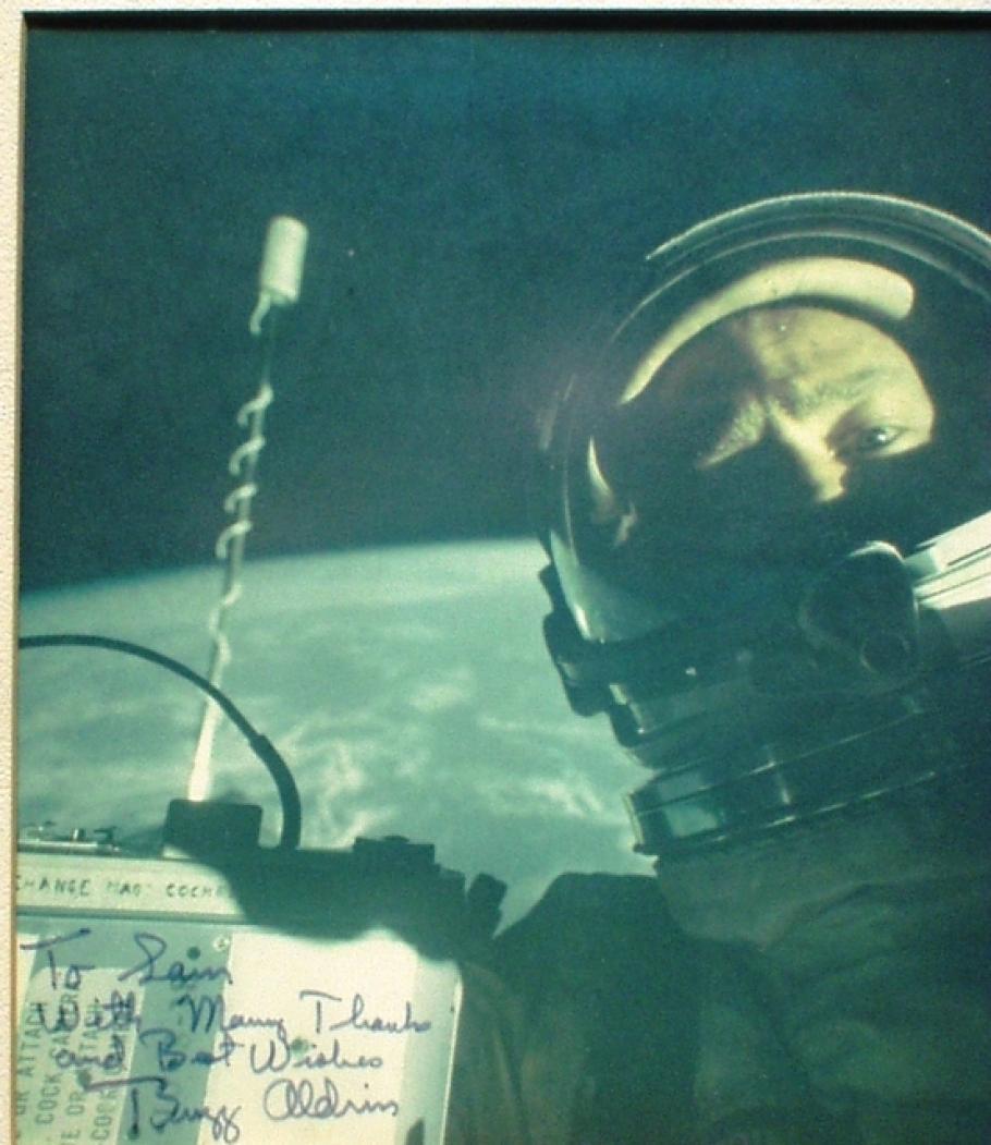 Buzz Aldrin Signed Photo to Sam Mattingly