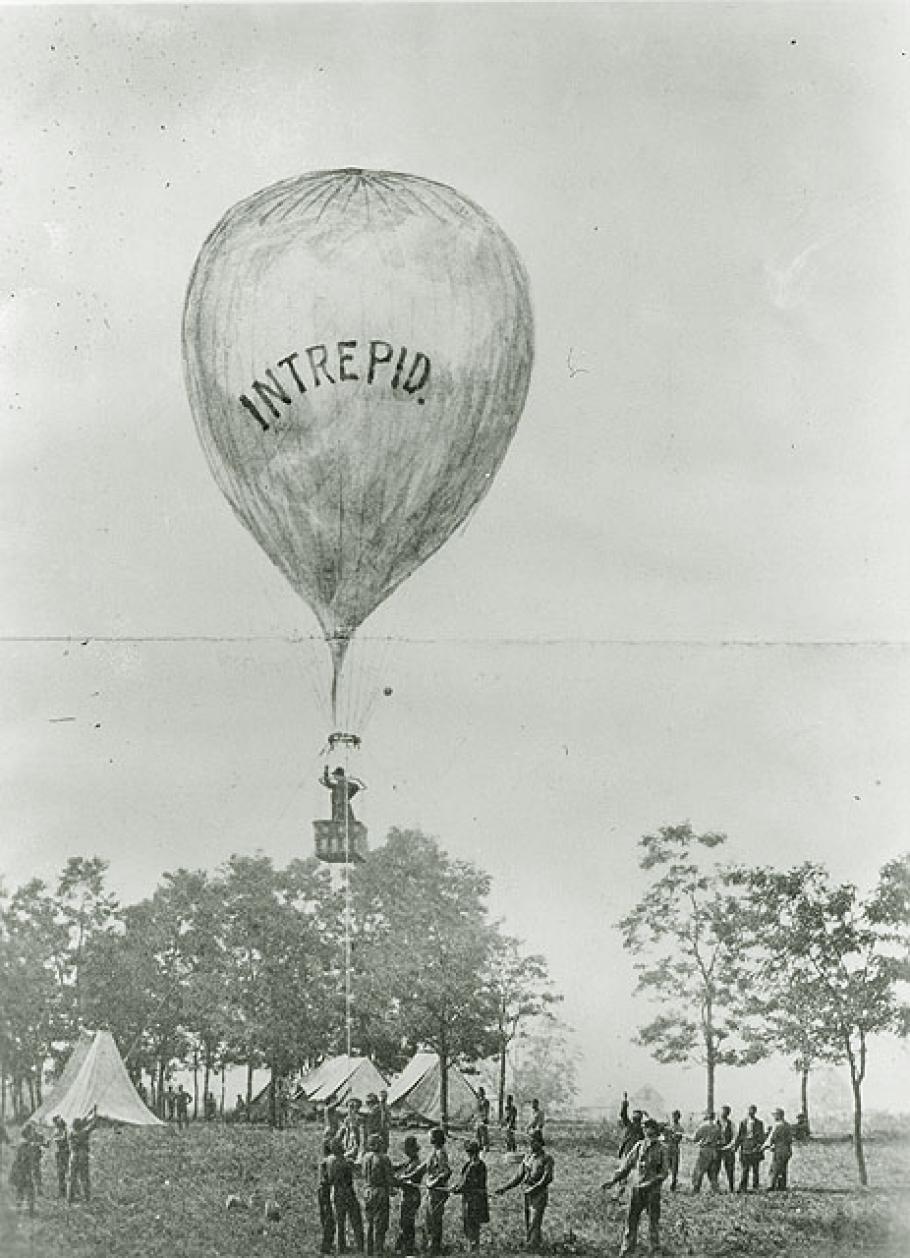 """Thaddeus Lowe aloft in \""""Intrepid\"""" Balloon"""
