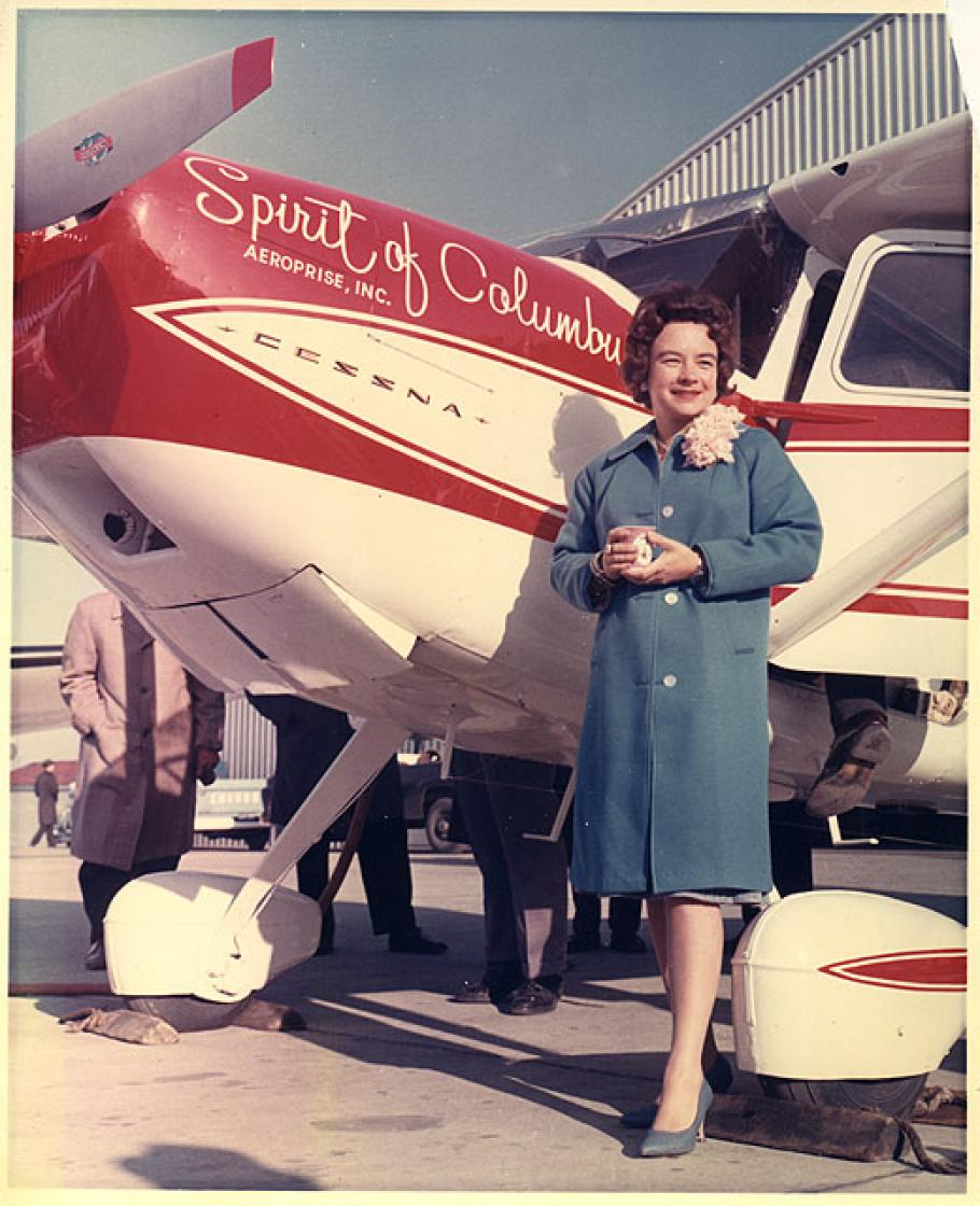 "Geraldine \""Jerrie"" Mock and her Cessna 180 Spirit of Columbus"