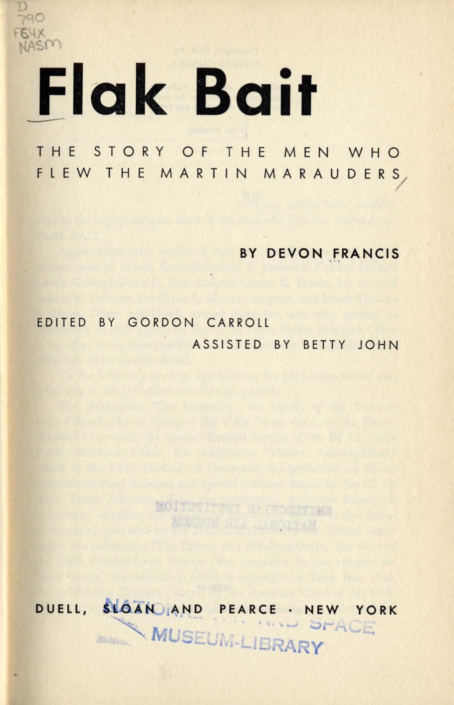 Inside of Devon Francis' Book <i>Flak Bait</i>