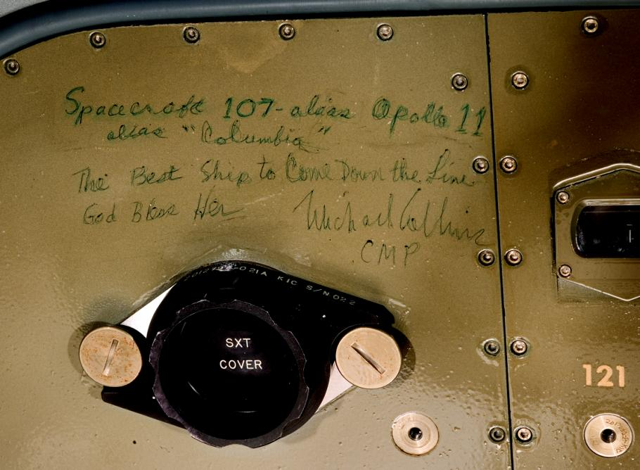 """Michael Collins' Inscription inside Apollo 11 Command Module """"Columbia"""""""