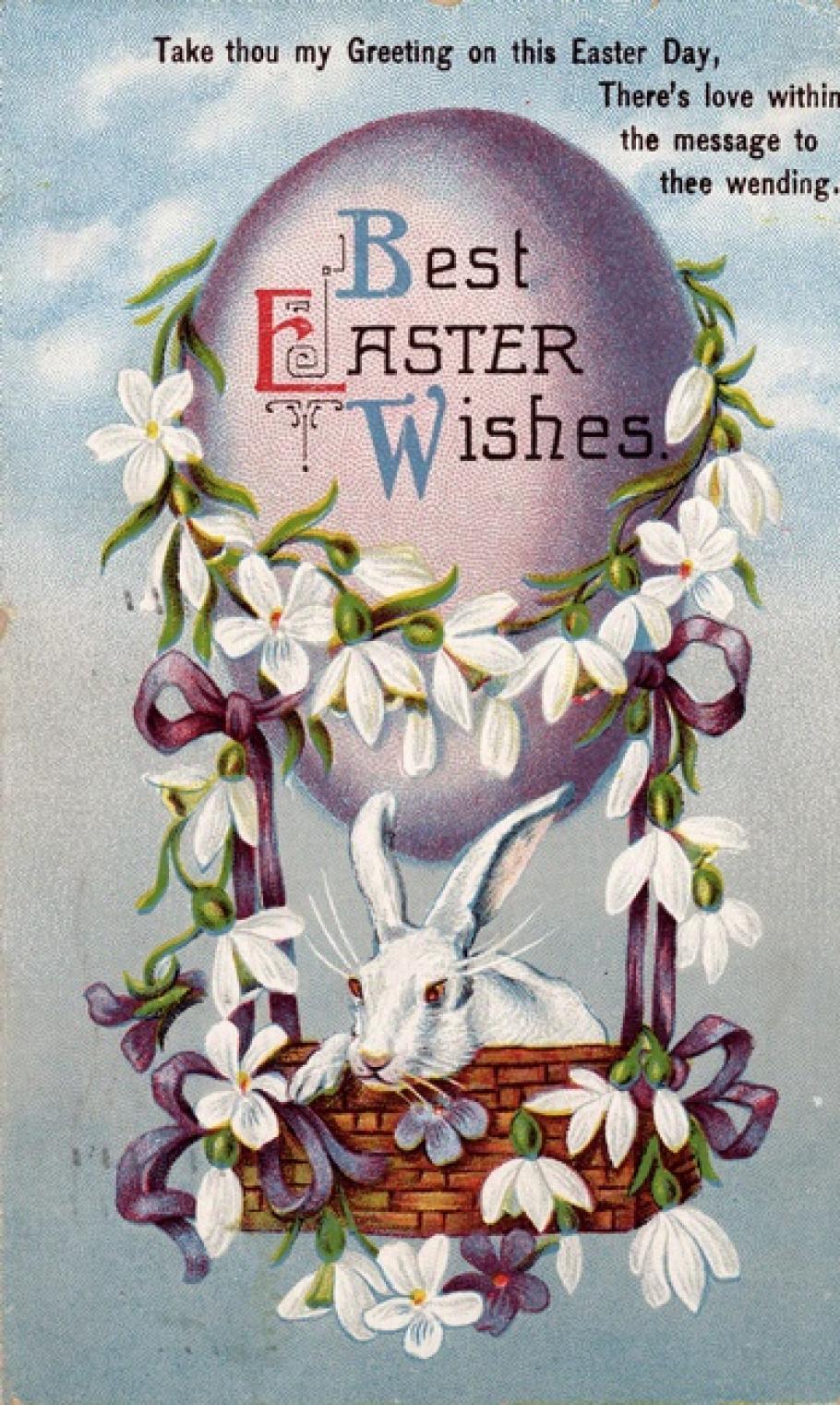 Easter Balloon Bunny Postcard