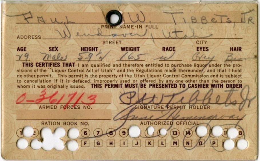 Colonel Paul Tibbets' Utah Liquor Ration Card