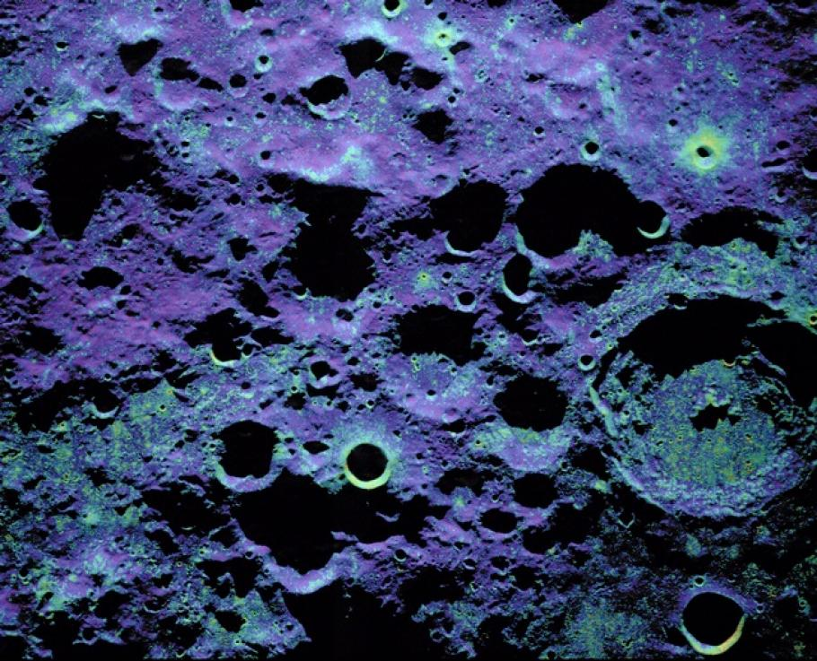 Radar Image of the Moon with Color overlay