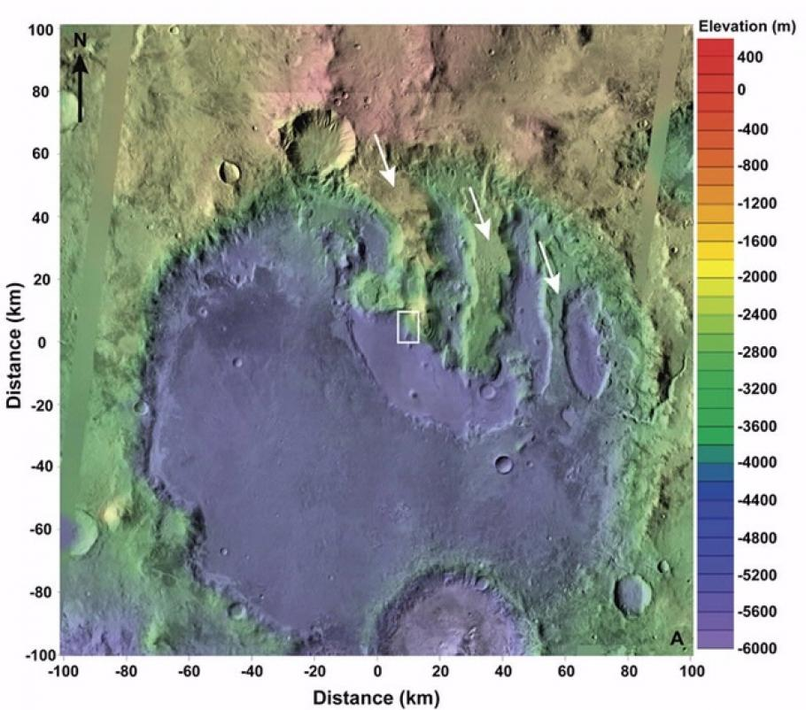 Terby Crates on mars viewed with data from Mars orbiter Altimeter