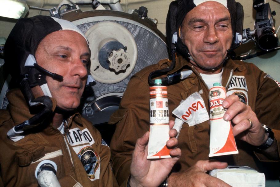 Apollo-Soyuz Toasting in Space