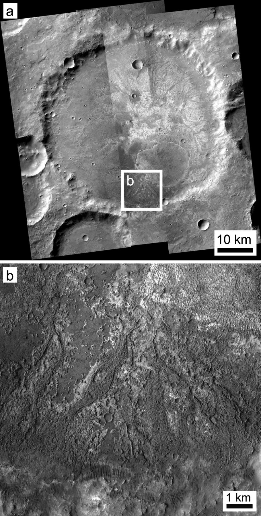 Photo of Exposed Layering in Martian Impact Craters