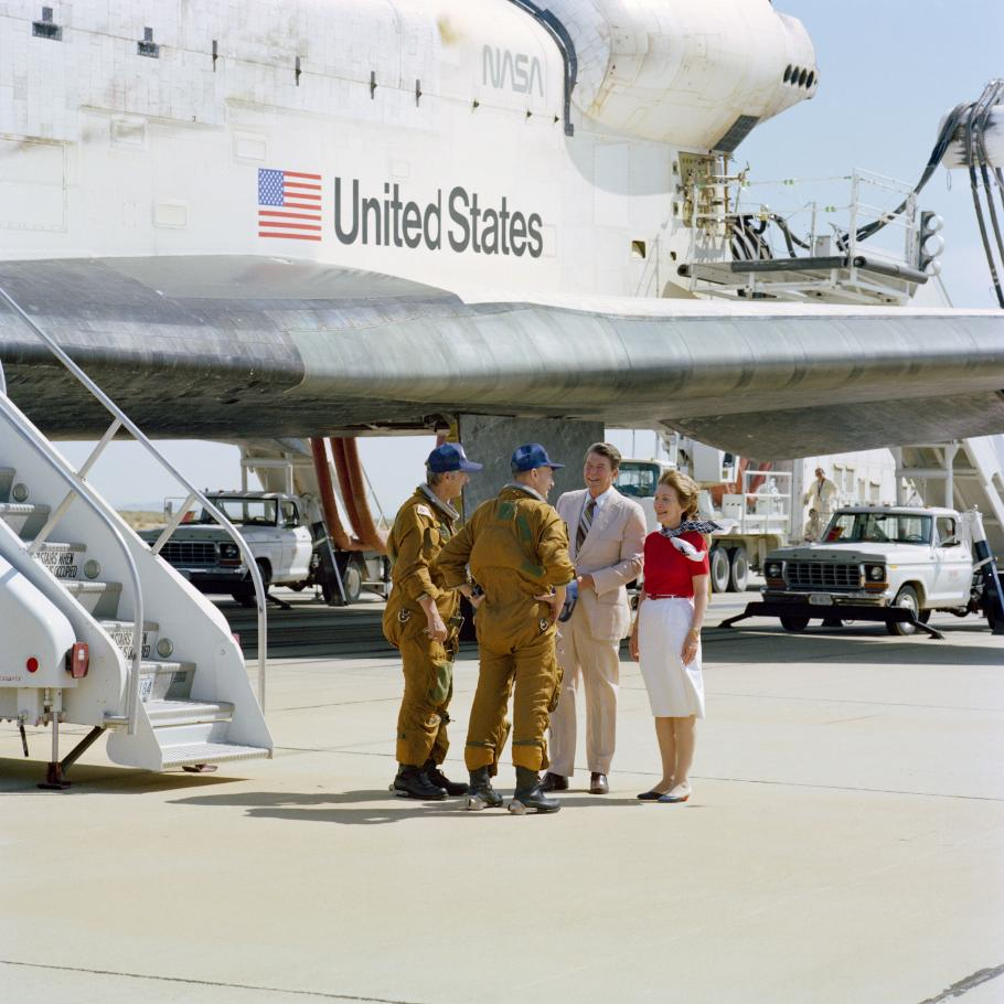 STS-4 Crew Greeted by President and Mrs. Reagan at Landing