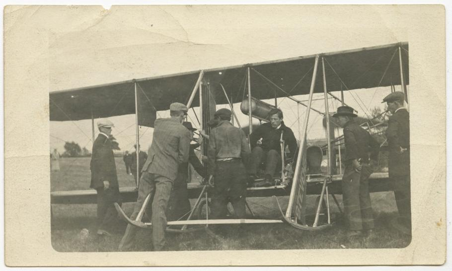 Harry Bingham Brown with Wright Biplane
