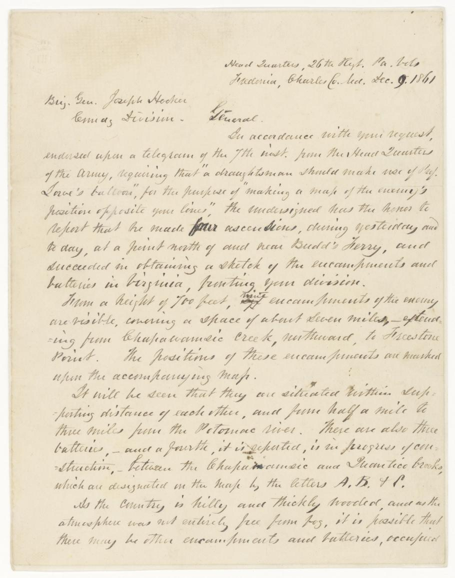 Letter by Colonel William F. Small (Page One)