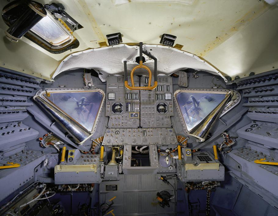 Interior view of Lunar Module 2 on display in Exploring the Moon