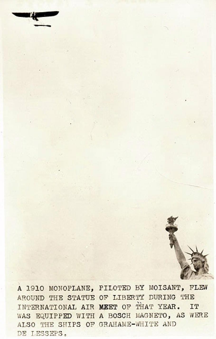 Bleriot XI Monoplane flies around Statue of Liberty