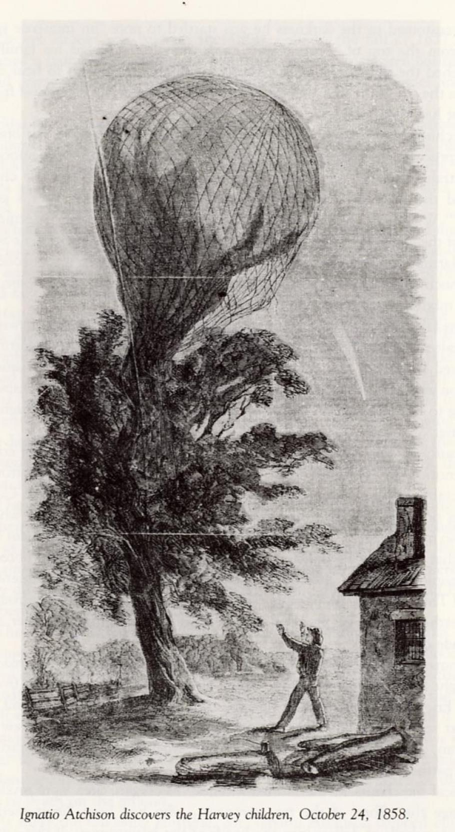 Ignatio Atchison Discovers Harvey Children in Runaway Balloon, Oct 24, 1858