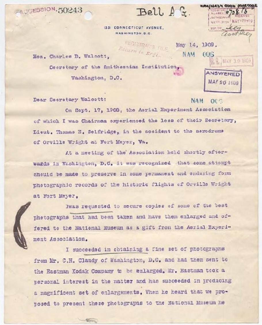 Alexander Graham Bell Letter to Charles D. Walcott (Pg 1)