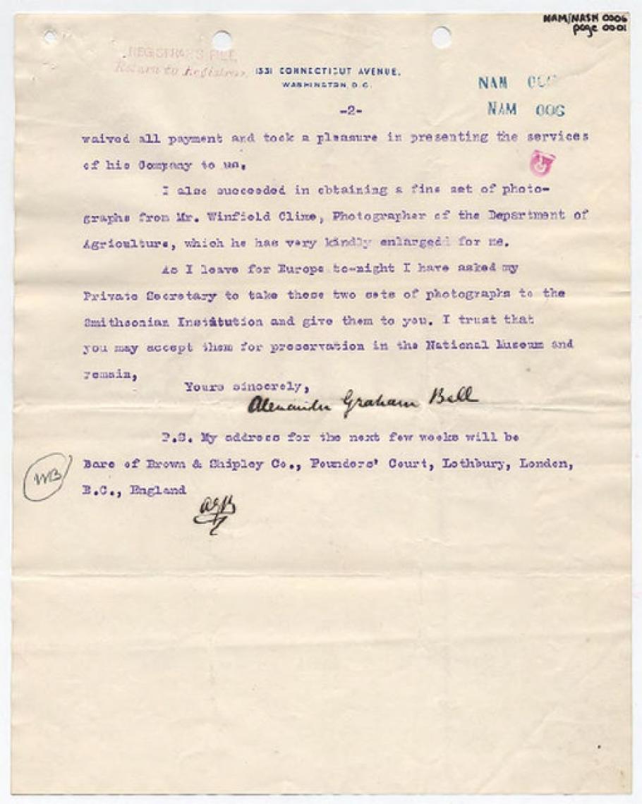 Alexander Graham Bell Letter to Charles D. Walcott (Pg 2)