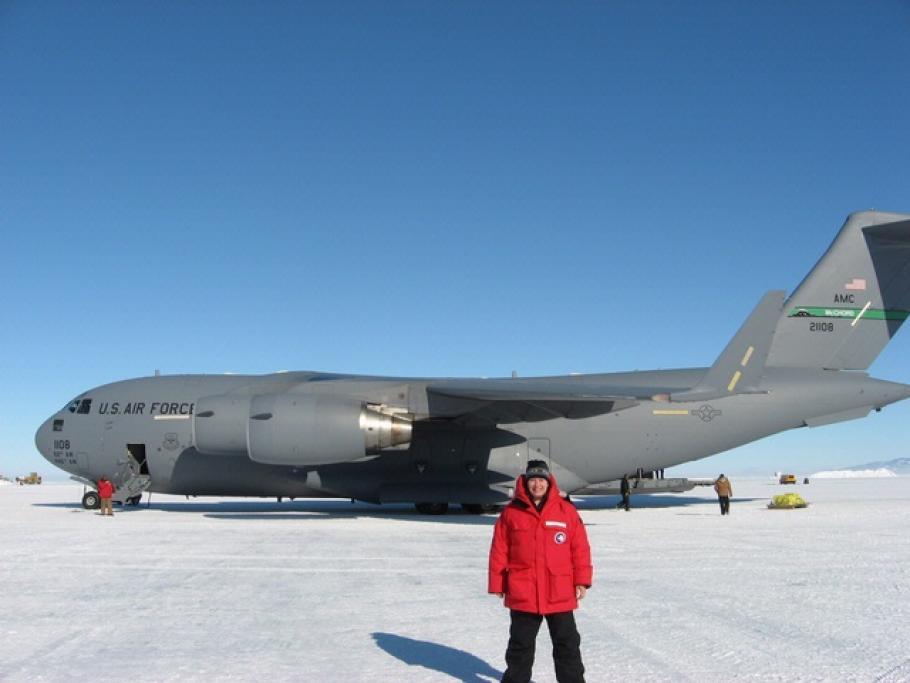 Maria Banks with C-17 in Antarctica