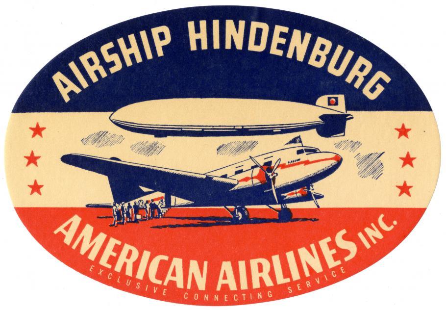 American Airlines-Hindenburg baggage label