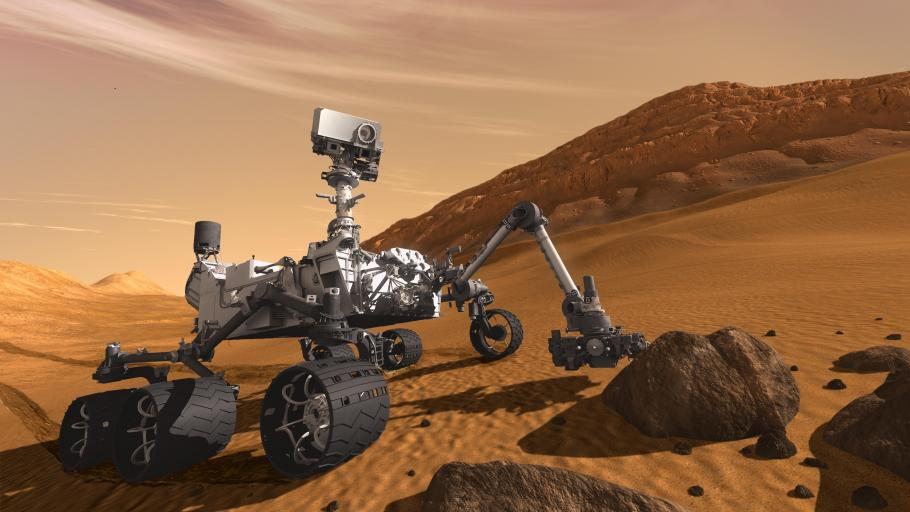 Artist concept of rover Curiosity performing tasks on the surface of Mars.