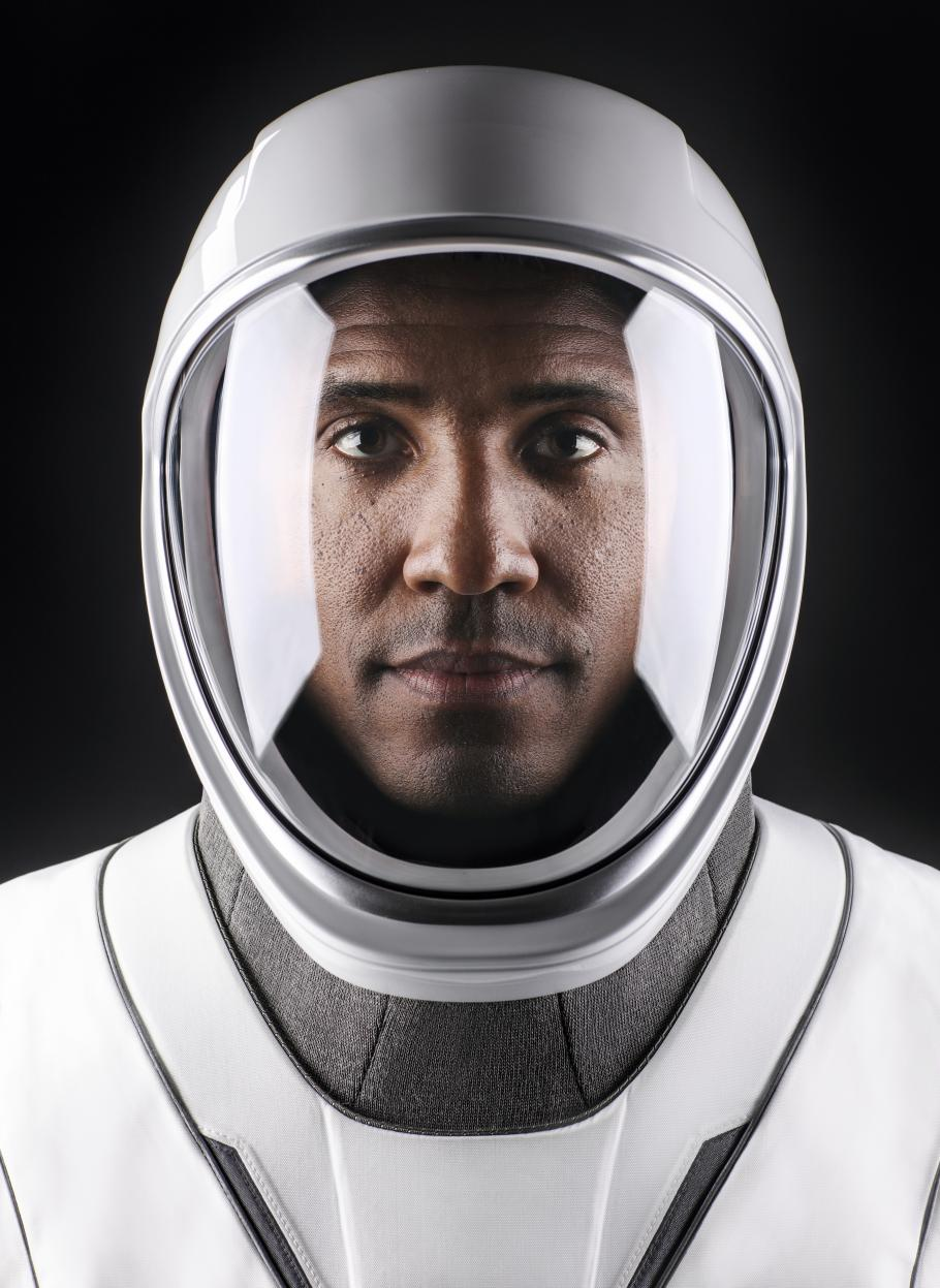 Victor Glover in his space suit as part of SpaceX Crew-1.