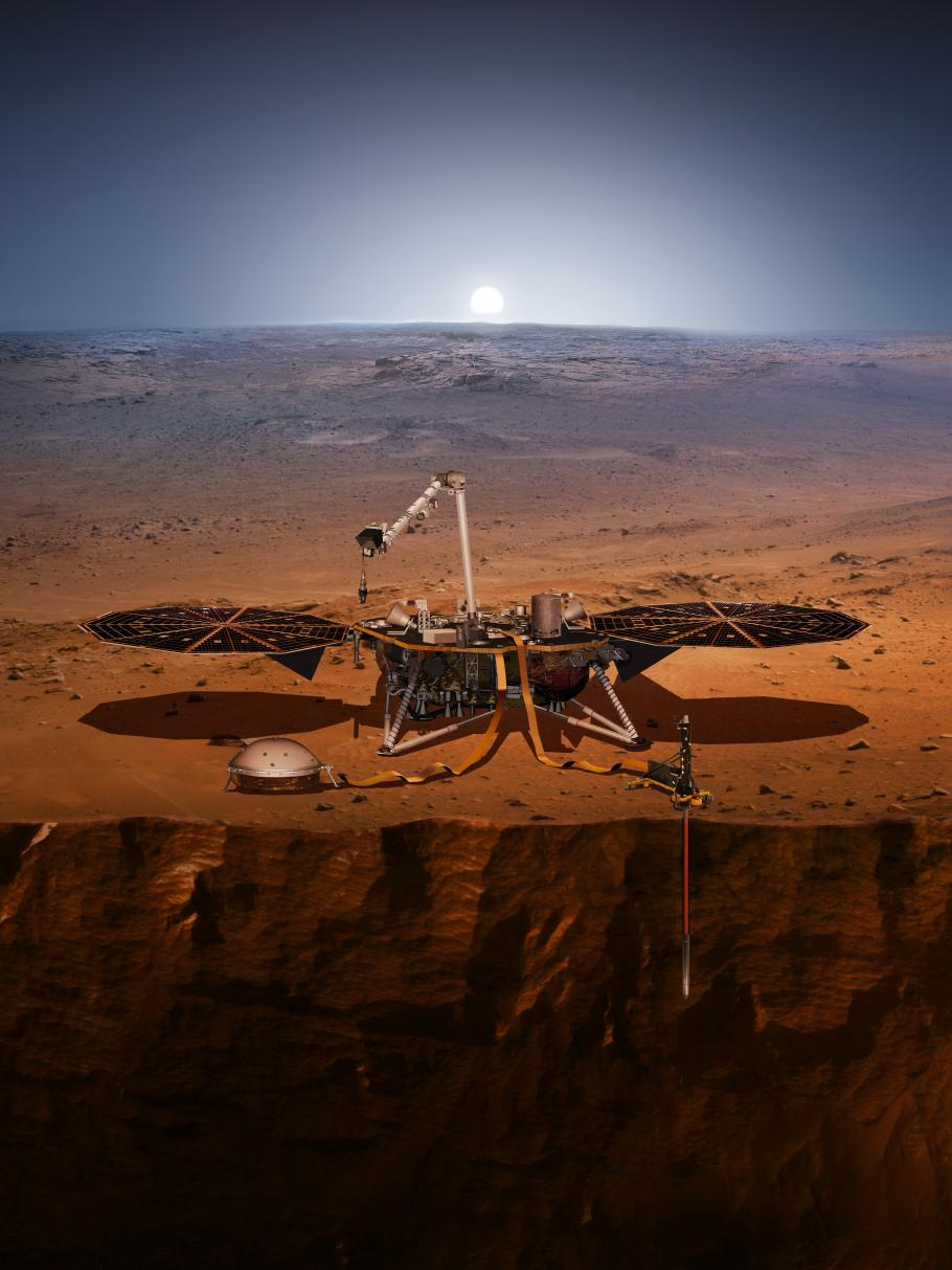 Illustration of the InSight lander on the surface of Mars.