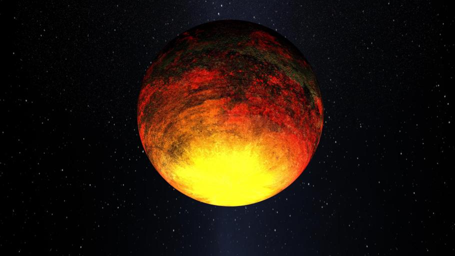 An artist's impression of the extremely hot exoplanet Kepler-10b.