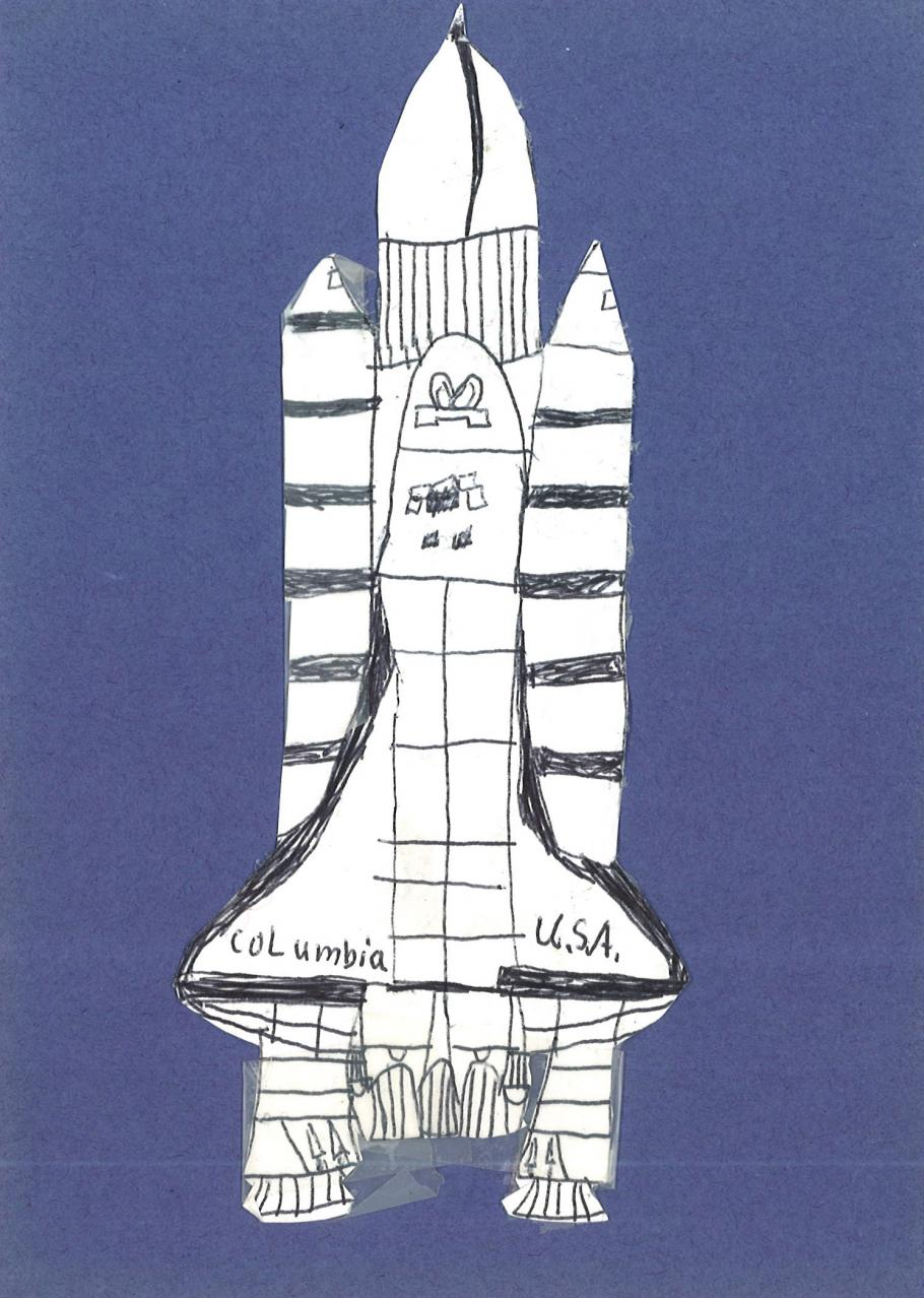 A drawing of the Space Shuttle Columbia, given to Marty Kelsey by one of his students.