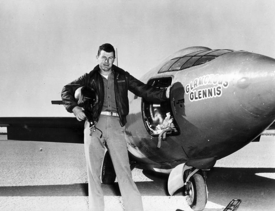 """Charles \""""Chuck\"""" Yeager with Bell X-1"""