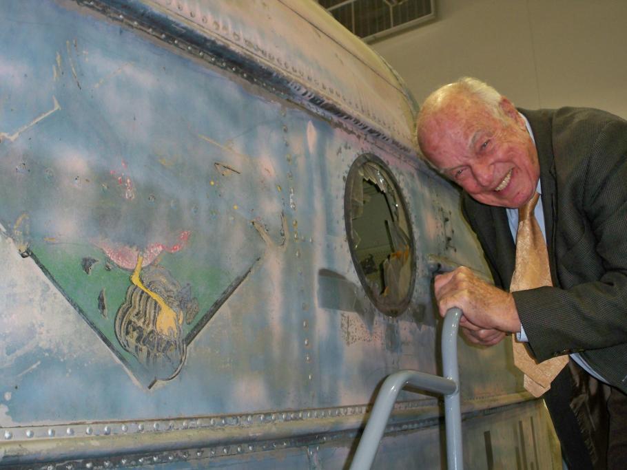 Lt. Cmdr. Harvey Waldron, USN (ret.) with the JRS-1