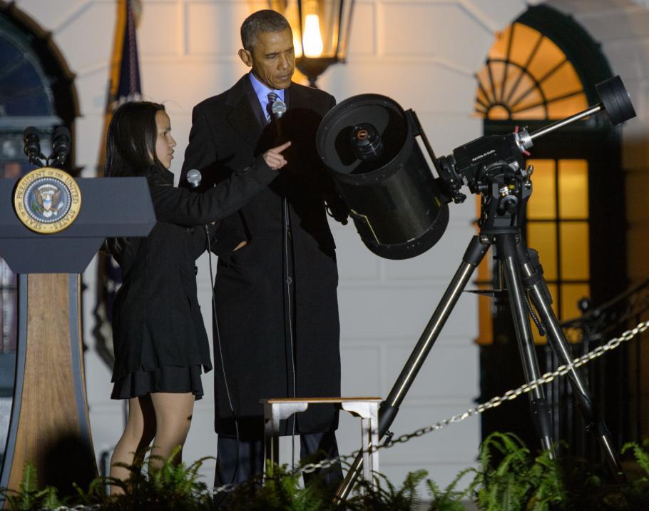 President Obama With Telescope
