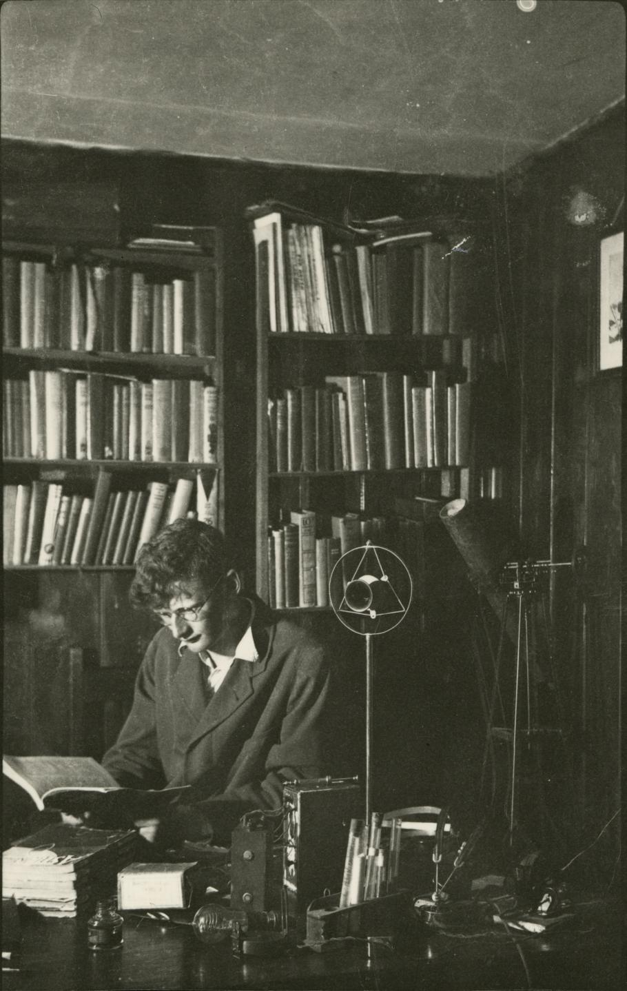 Arthur C. Clarke in his Study