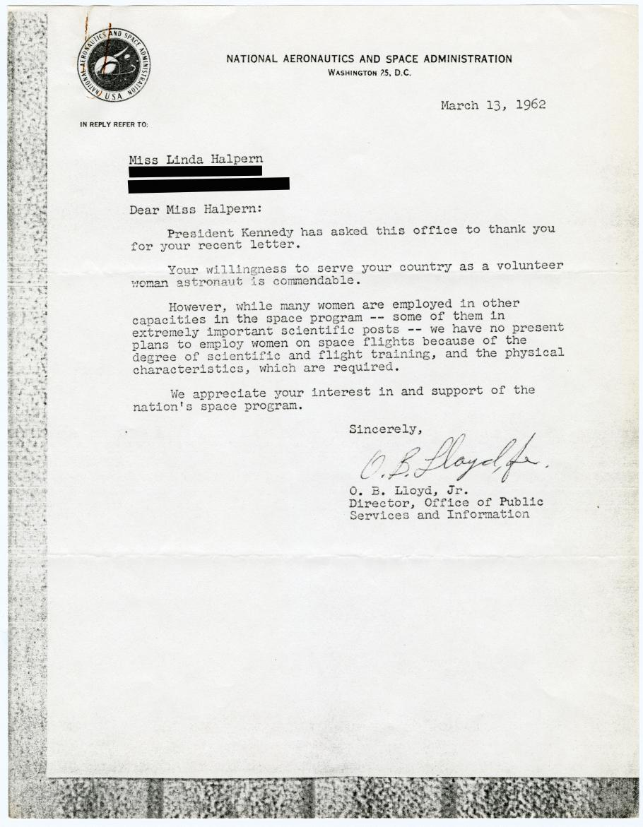 Letter From NASA