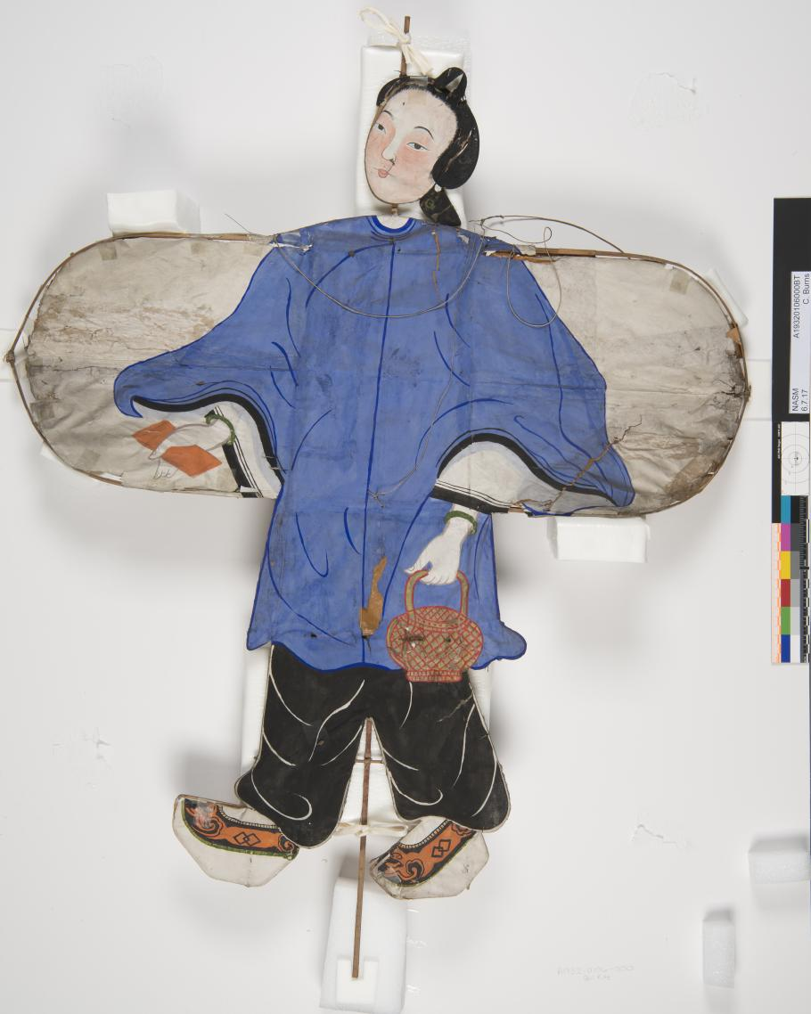 Kite, girl is one of 23 traditional Chinese kites in the National Air and Space Museum's collection undergoing conservation treatment at the Emil Buehler Conservation Lab at the Steven F. Udvar-Hazy Center.