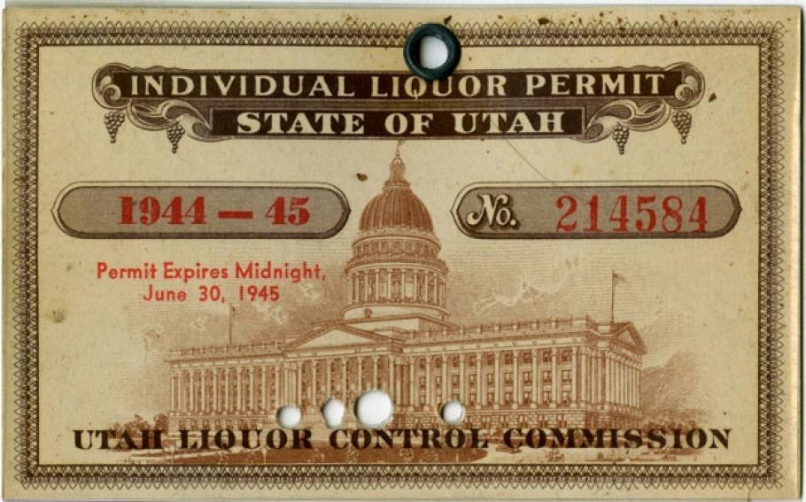 Major Thomas Ferebee's Utah Liquor Ration Card