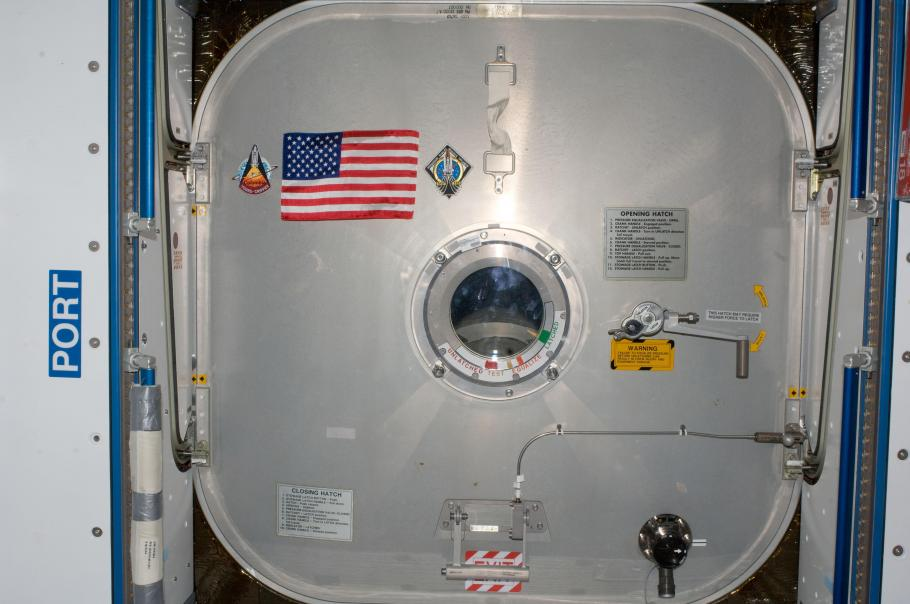 flag on wall on space station