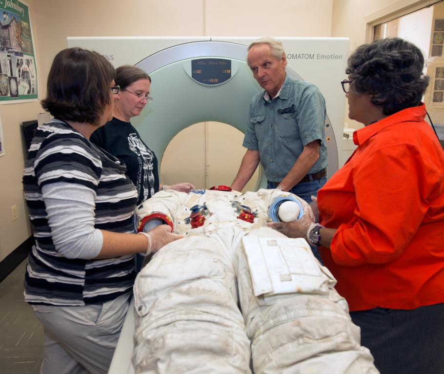 Armstrong's Spacesuit in CT Scanner