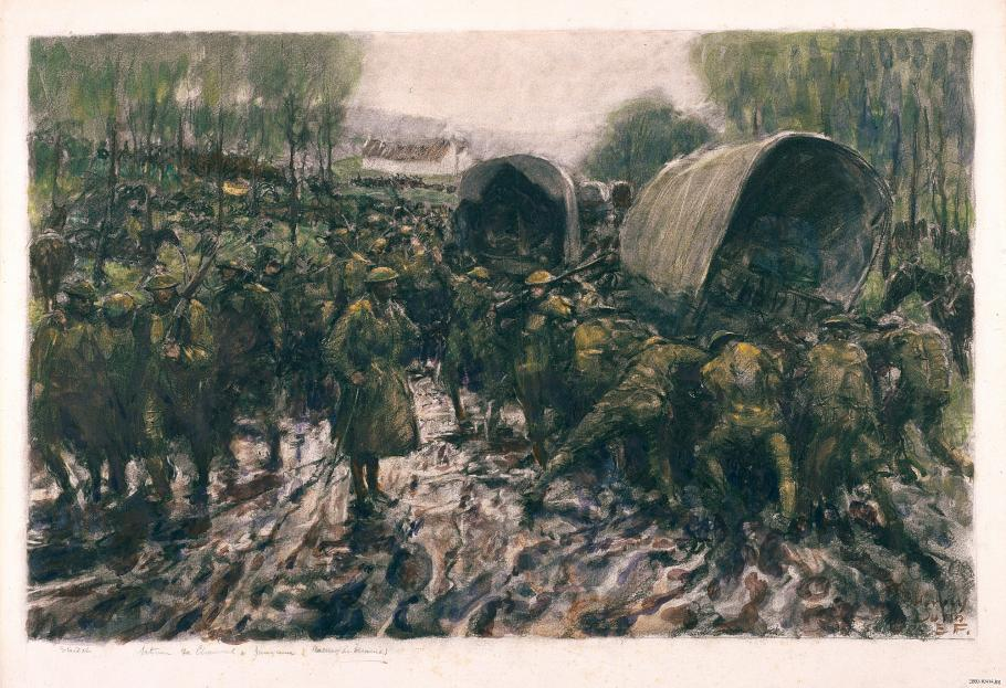 Soldiers push vehicles through mud.