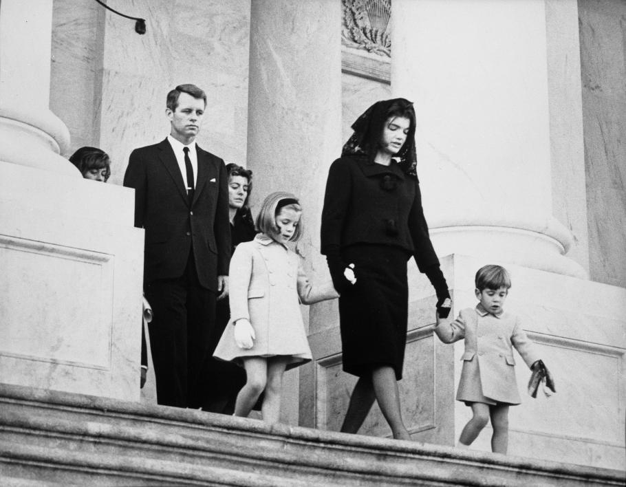 Kennedy family members leaving the funeral ceremony for President John F. Kennedy, entrance of capital building.
