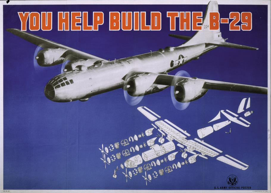 "Blue poster with photo of B-29 and words ""You Help Build the B-29"""