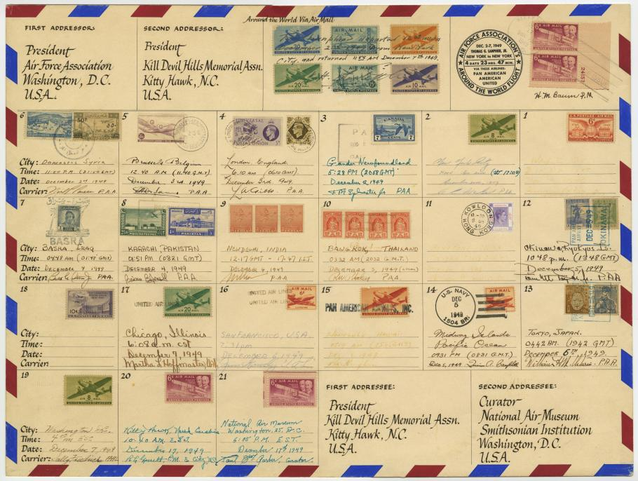 Air Mail Envelope with Stamps from 1949